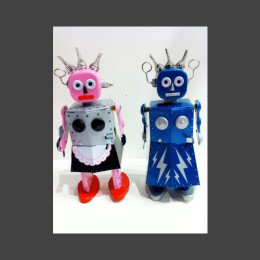 Roxy and Electra tin robots